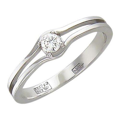 Эстет Кольцо с бриллиантом из белого золота 01К626811, размер 18.5