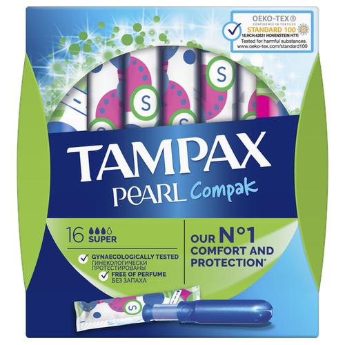 TAMPAX тампоны Compak Pearl Super Duo, 3 капли, 16 шт. тампоны tampax compak super plus 16 шт
