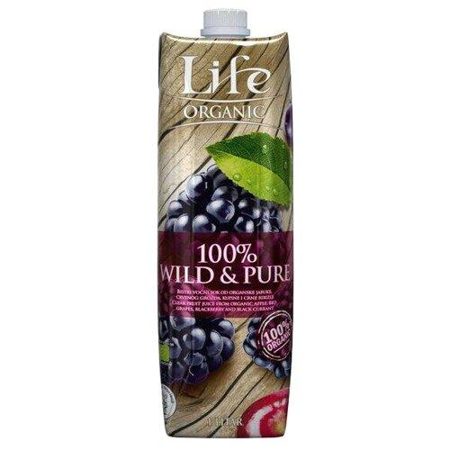 life premium нектар вишневый 1 л Сок Life Premium Organic Wild & Pure мультифруктовый, без сахара, 1 л