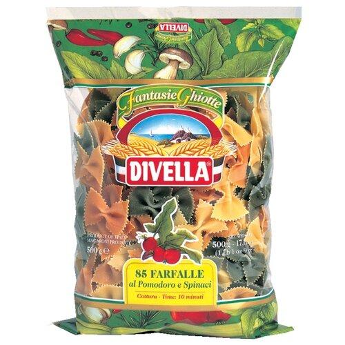 Divella Макароны Farfalle 85 с томатом и шпинатом, 500 г