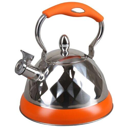 Pomi d'Oro Чайник со свистком PSS-650015/650016/650017 3.2 л, серебристый/оранжевый кастрюля pomi d oro facilita pss 595252 2 5 л стальной
