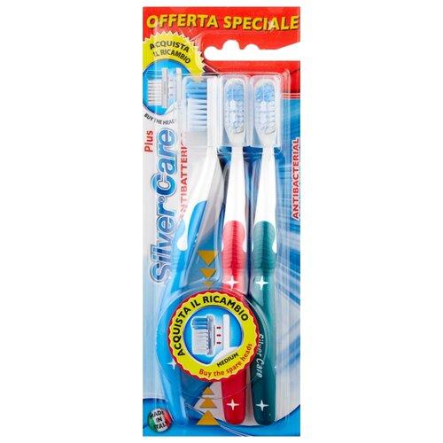 Зубная щетка Silver Care Дельфин, средняя жесткость, зеленый/красный/голубой, 3 шт. dentalpro зубная щетка black compact head средняя жесткость