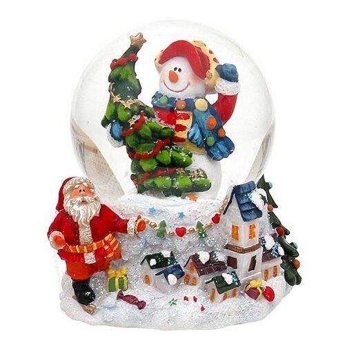 Снежный шар Sigro Вдохновенный снеговик в кепке (50-1611) белый по цене 2 730