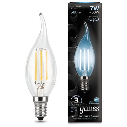 Лампа светодиодная gauss 104801207, E14, CA35, 7Вт лампа светодиодная gauss 104801109 e14 ca35 9вт