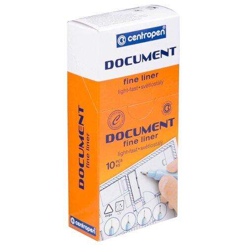Купить Centropen Набор капиллярных ручек Document, 0.3 мм, 10 шт, черный цвет чернил, Ручки