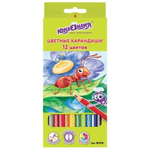 Купить Юнландия Карандаши цветные В гостях у букашек 12 цветов (181378), Цветные карандаши