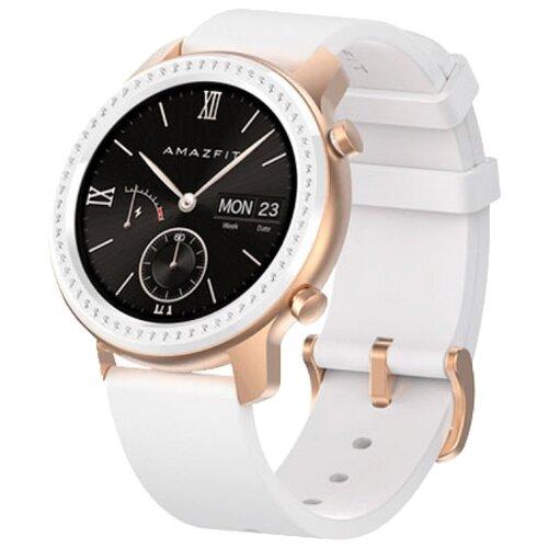 Умные часы c GPS Amazfit GTR 42 mm aluminium case, leather strap glitter edition