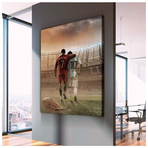 Картина Роналдо И Месси 60х80 см. синтетический холст