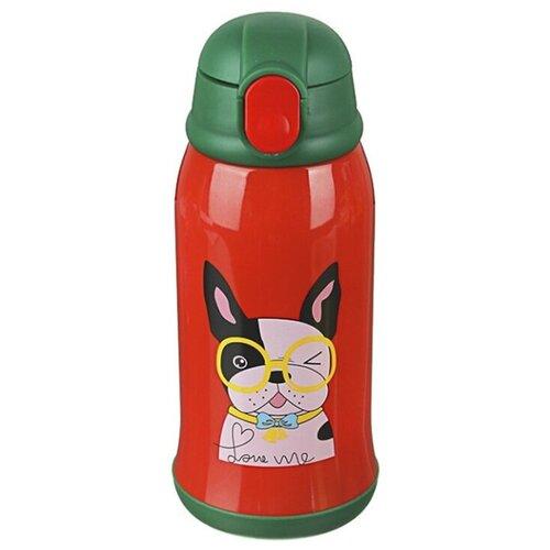 Термос детский в чехле, 500 мл, пластик, сталь, красный (пес, медведь)