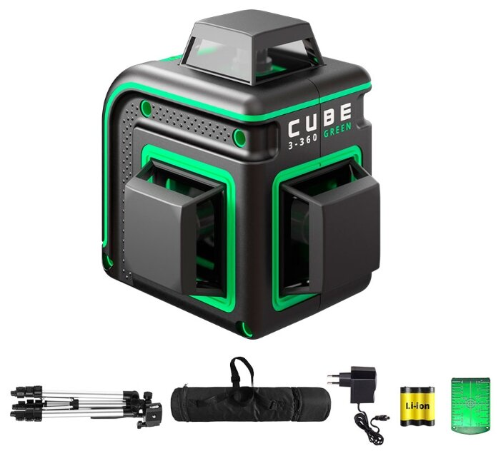 Купить Лазерный уровень самовыравнивающийся ADA instruments CUBE 3-360 GREEN PROFESSIONAL EDITION (А00573) со штативом по низкой цене с доставкой из Яндекс.Маркета (бывший Беру)