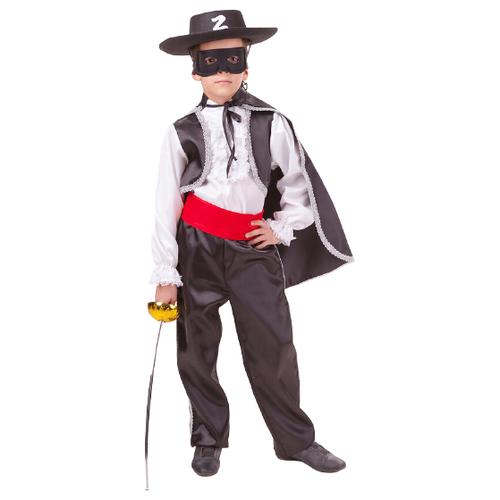 Купить Костюм пуговка Зорро (2039 к-18), черный, размер 134, Карнавальные костюмы