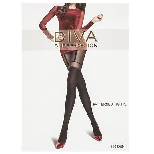 Колготки DIVA SUPERFASHION DK-66 380 den, размер free size, черный колготки diva superfashion secret 128 380 den размер free size черный черный