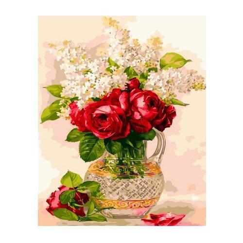 Купить ВанГогВоМне Картина по номерам Сирень и розы в кувшине , 40х50 см (ZX 21685), Картины по номерам и контурам