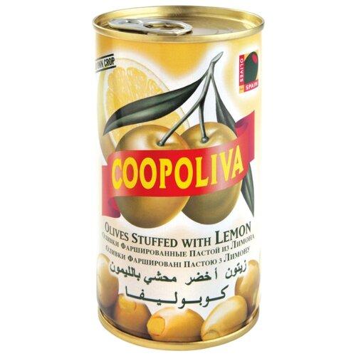 Coopoliva Оливки с лимоном в рассоле, жестяная банка 350 г acorsa оливки фаршированные анчоусом жестяная банка 350 г