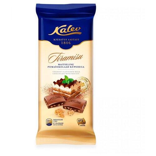 Шоколад Kalev молочный со вкусом итальянского десерта тирамису и кусочками печенья 30%, 100 г
