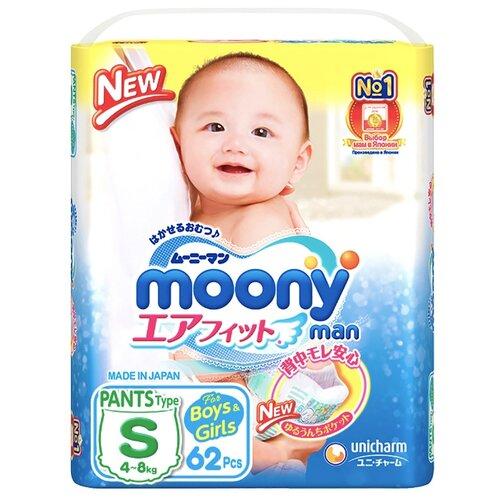 Купить Moony трусики S (4-8 кг), 62 шт., Подгузники