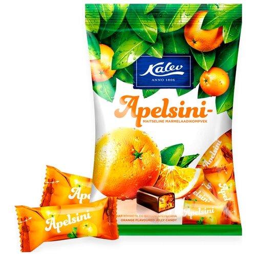 Конфеты Kalev Apelsini шоколадные с мармеладной начинкой со вкусом апельсина 175 г фото