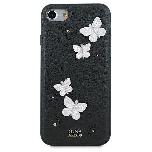 Чехол кожаный для iPhone 7 8 и SE 2020 / Чехол для девочек на Айфон 7 8 и СЕ 2020 (Черный)