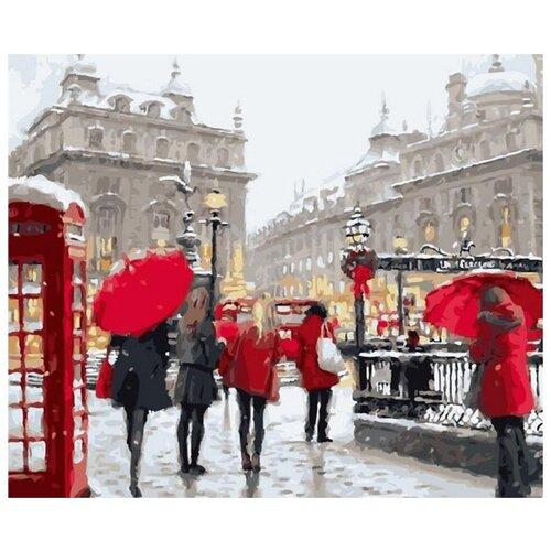 Алмазная вышивка Цветной Лондон в снегу, 50x40