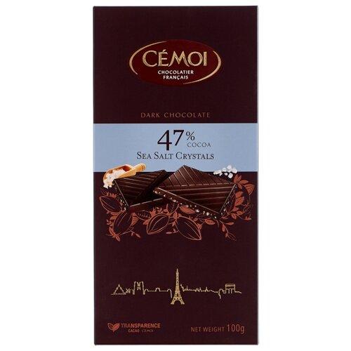 шоколад cemoi темный с карамелизированными кусочками миндаля 100 г Шоколад Cemoi Горький 47% какао с кристаллами морской соли, 100 г