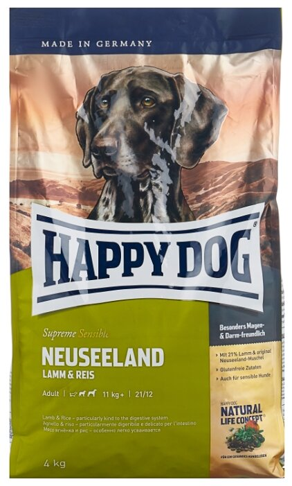 Корм для собак Happy Dog Supreme Sensible Neuseeland ягненок 4 кг
