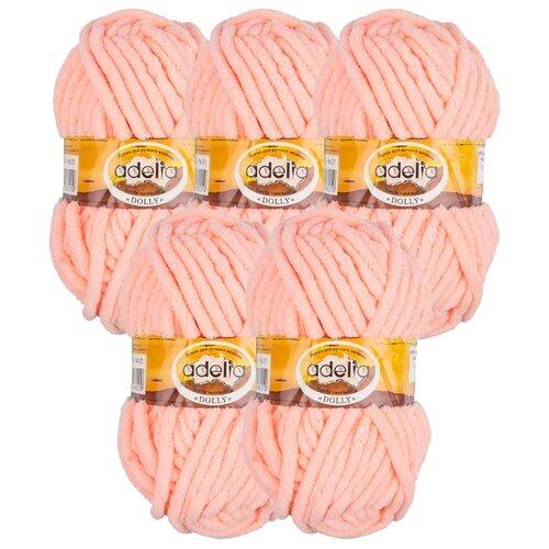 Купить Пряжа Adelia Dolly однотонная, 100 % полиэстер, 100 г, 40 м, 5 шт., №21 персиковый