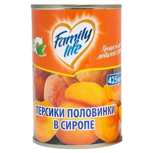 Персики Family Life половинки в сиропе 425 мл vegda персики в сиропе 425 мл