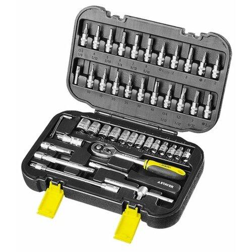 Набор автомобильных инструментов STAYER 27760-H46, 46 предм., черный/желтый набор инструментов зубр 25283 h46 z01 46 предм синий