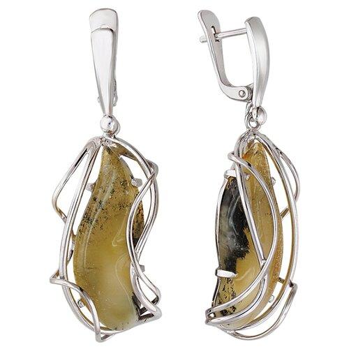 Эстет Висячие серьги из серебра с янтарем в виде капли Е10С450401508