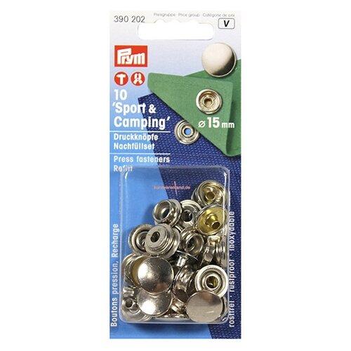 Prym Пополняющий набор для Спорт и кемпинг 390201 (390202), серебристый, 15 мм, 10 шт.