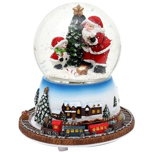 Снежный шар Sigro Санта и снеговичок 16 см (50-1859) белый/голубой/коричневый по цене 7 506