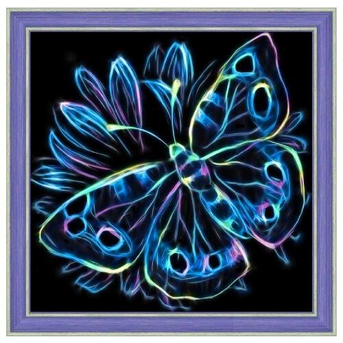 Алмазная живопись Набор алмазной вышивки Неоновая бабочка (АЖ-1713) 25х25 см