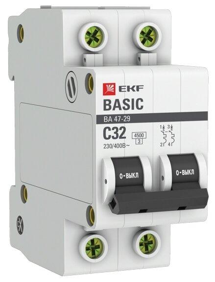 Автоматический выключатель EKF ВА 47-29 2P (C) 4,5kA