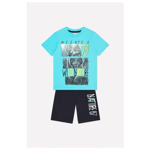 Комплект одежды crockid размер 122, бирюза/черный фото