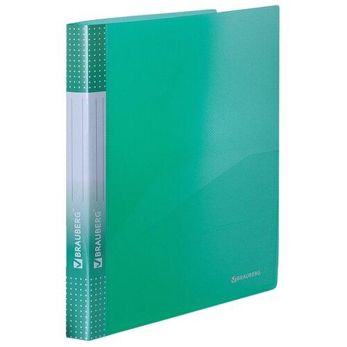 Купить BRAUBERG Папка на 2 кольцах с карманом Диагональ А4, 25 мм тонированная зеленая, Файлы и папки