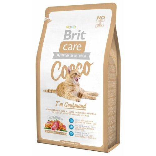 Сухой корм для кошек Brit Care Cocco, беззерновой, для привередливых кошек и кошек с проблемами в потреблении пищи, с лососем, с уткой 7 кг