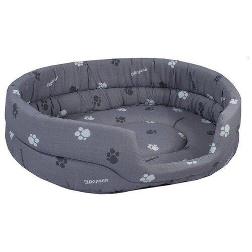 Лежак для собак и кошек Дарэлл Овальный стёганый 9141 42х33х15 см серый