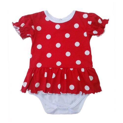 Платье-боди Дашенька размер 56, горох/красный
