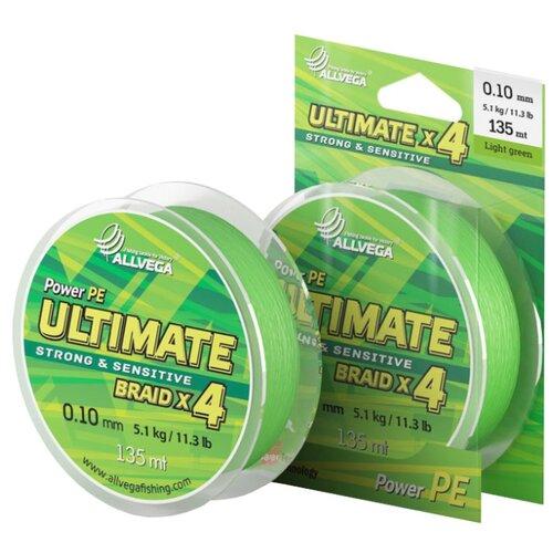 Плетеный шнур ALLVEGA ULTIMATE light green 0.1 мм 135 м 5.1 кг