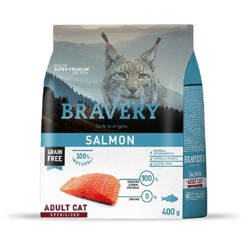 Корм для стерилизованных кошек Bravery беззерновой, с лососем 400 г