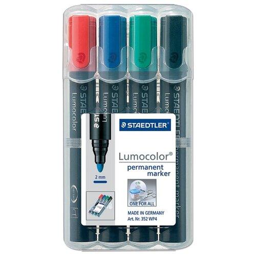 Купить Staedtler Набор перманентных маркеров Lumocolor, 4 шт (352 WP4), Маркеры