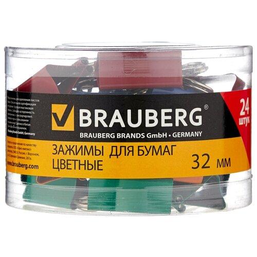 Купить BRAUBERG Зажимы для бумаг цветные 221129 32 мм (24 шт.) красный / желтый / зеленый / синий, Скрепки, кнопки