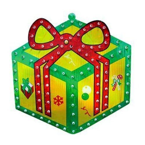 Панно SNOWMEN Подарок 46 х 46 см, зеленый/красный