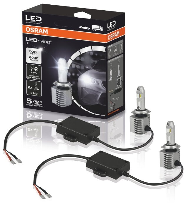 Лампа автомобильная светодиодная Osram LEDriving HL H7 65210CW 14W 12/24V 2 шт.