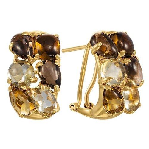 Фото - JV Серьги из золота 585 пробы с цветными полудрагоценными камнями AAS-3821E-SR-MC-YG серьги с полудрагоценными камнями