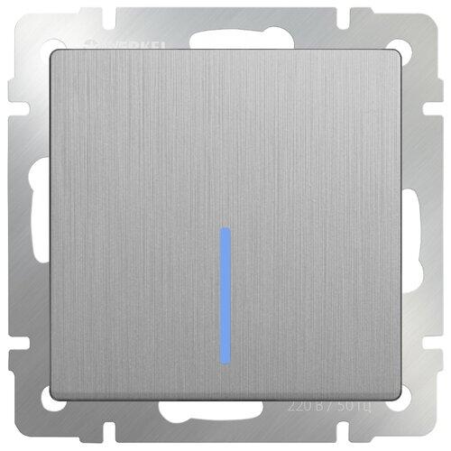 Выключатель 1-полюсный Werkel WL09-SW-1G-LED,10А, серебристый выключатель 1 полюсный werkel wl06 sw 1g 2w led 10а серебристый