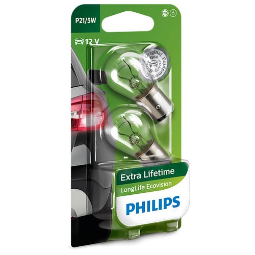 Лампа автомобильная накаливания Philips LongLife EcoVision 12499LLECOB2 P21/5W 5W 2 шт. лампа автомобильная накаливания philips 12594cp p21 4w 21 4w 1 шт
