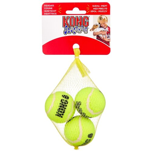 Мячик для собак KONG Air теннисный маленький, 3 шт (AST3) желтый