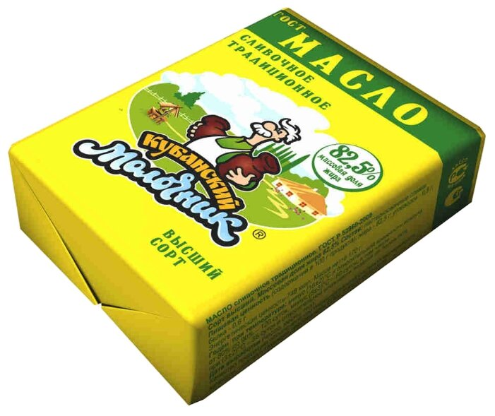 Кубанский молочник Масло сливочное Традиционное 82.5%, 170 г