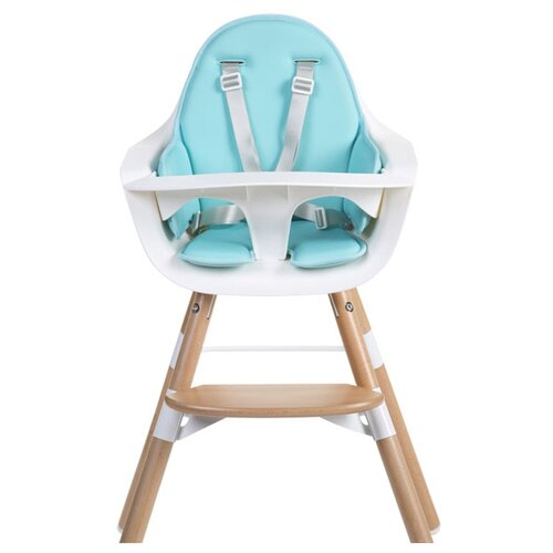 Купить Стульчик для кормления Childhome Evolu ONE.80° с подушкой, Natural White/Neoprene Mint Blue, Стульчики для кормления